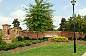 Beautiful entrance to Brandon Hall Subdivision Real Estate for Sale Cumming GA 30041 built by Tom Sharp