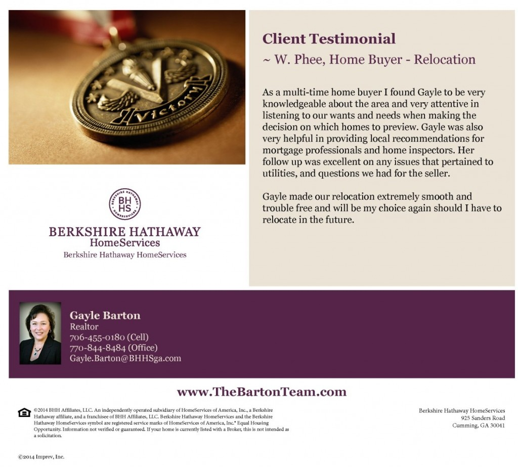Customer Review, Client Testimonial, Real Estate Home Buyer Comments and Feedback about Gayle Barton – Cumming GA Realtor